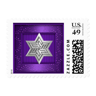 Silver Star of David Stamp on Purple Sparkle Frame