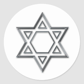 Silver Star Of David Sticker