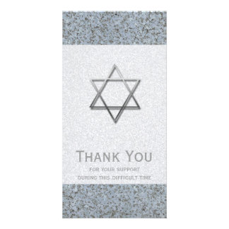 Silver Star of David Stone 1 Sympathy Thank You Card