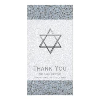 Silver Star of David Stone 1 Sympathy Thank You Card