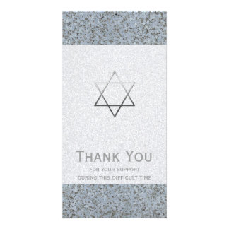 Silver Star of David Stone 2 Sympathy Thank You Card