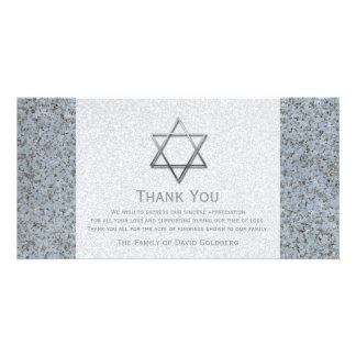Silver Star of David Stone 3 Sympathy Thank You Card