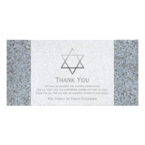 Silver Star of David Stone 4 Sympathy Thank You Card