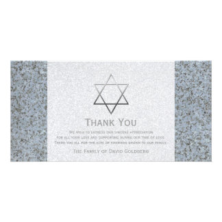 Silver Star of David Stone 4 Sympathy Thank You Photo Card