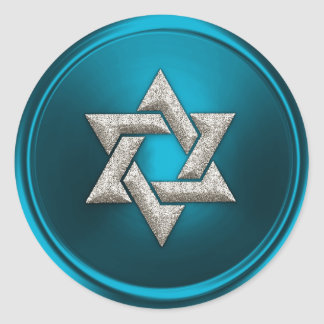 Silver Star of David Turquoise Teal Blue Classic Round Sticker