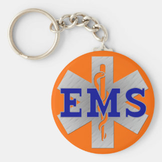 Silver Star of Life with Blue EMS Basic Round Button Keychain