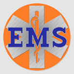 Silver Star of Life with Blue EMS Classic Round Sticker