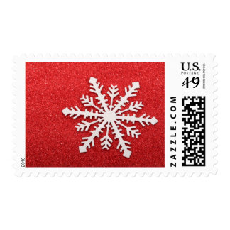 Silver Star on Red Background Postage