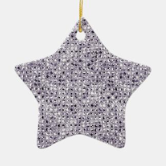 Silver Star Sequin Glitter Effect Ceramic Ornament