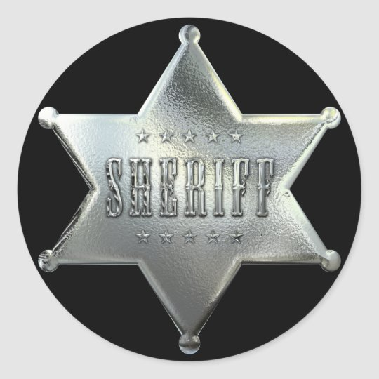 Silver Star Sheriff Badge Classic Round Sticker
