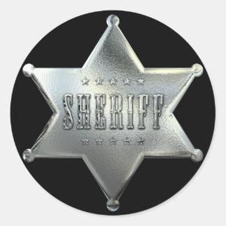 Silver Star Sheriff Badge Round Sticker
