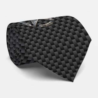 Silver Star Stencil Carbon Fiber Style Neck Tie
