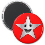 Silver Star with Smiling Face 2 Inch Round Magnet