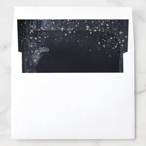 Silver Starry Night Wedding Invitation Suite Envelope Liner