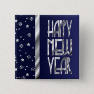 Silver Stars and Snowflakes New Year's Button