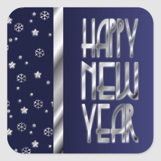 Silver Stars and Snowflakes New Year's Stickers