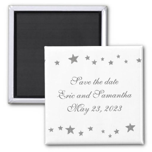 Silver stars border, Save the date wedding magnet