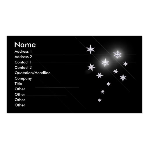 Silver Stars - Business Size Business Card Template