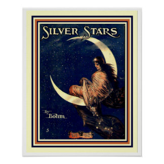 Silver Stars by Bohm Art Nouveau  Poster 16 x 20