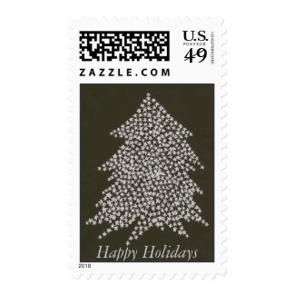 Silver Stars Christmas Tree Happy Holidays stamp