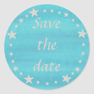 Silver Stars Circle on blue Save the date stickers