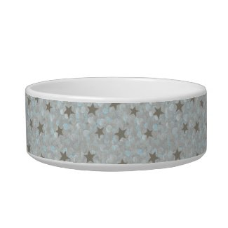 Silver Stars, Gray & Blue Bubbles Pet Dish Cat Bowl