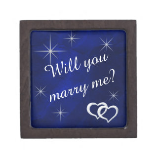 Silver Stars Heart Engagement Ring Gift Box