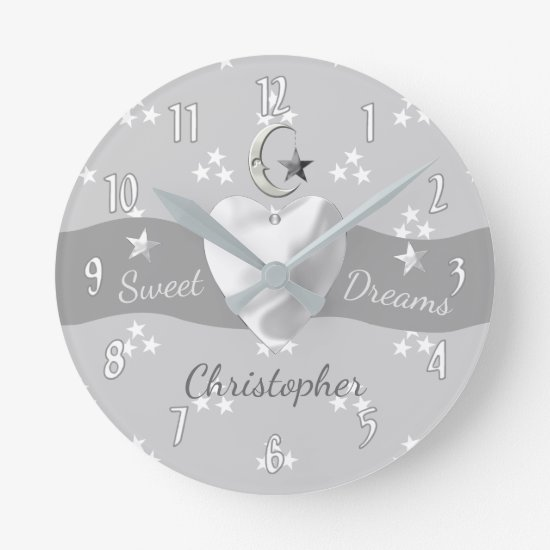 Silver Stars & Moon Clock nursery decor
