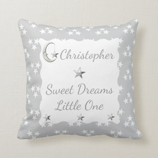 Silver Stars & Moon Cushion / Pillow nursery decor