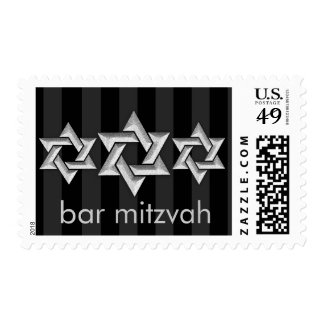 Silver Stars of David on Any Color Bar Mitzvah Postage Stamp