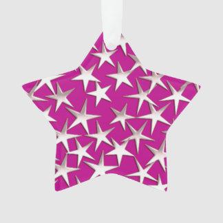 Silver stars on amethyst purple ornament