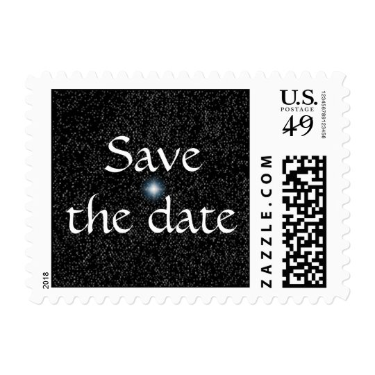Silver Stars on Black Save the date Postage Stamps