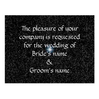 Silver Stars on Black Wedding Invite Postcards