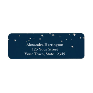 Silver Stars on Blue, Christmas Label