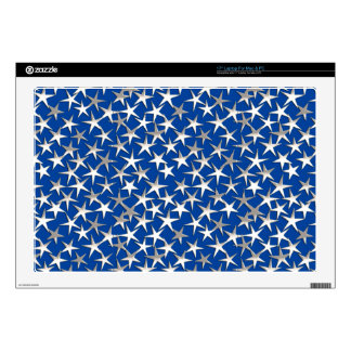 Silver stars on cobalt blue decals for laptops