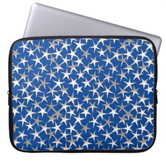 Silver stars on cobalt blue laptop sleeve