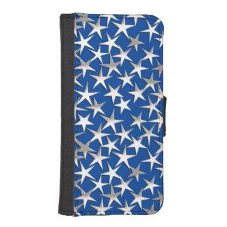 Silver stars on cobalt blue phone wallet