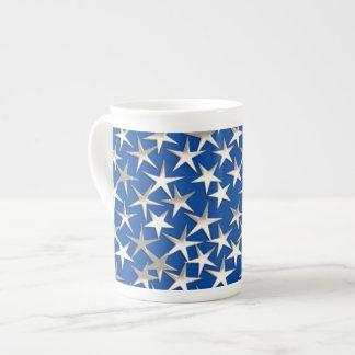 Silver stars on cobalt blue bone china mugs