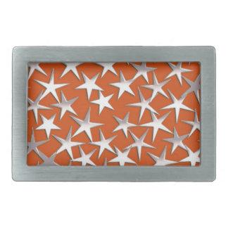 Silver stars on copper rectangular belt buckles
