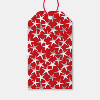Silver stars on deep red gift tags