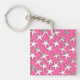 Silver stars on fuchsia pink keychain