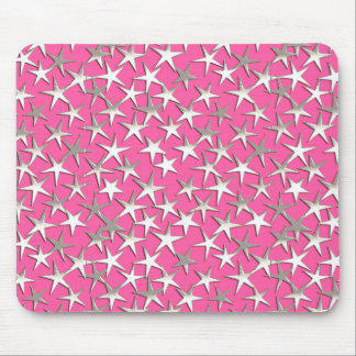 Silver stars on fuchsia pink mouse pad