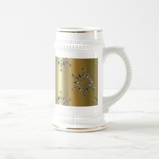 Silver Stars On Gold Christmas Beer Stein