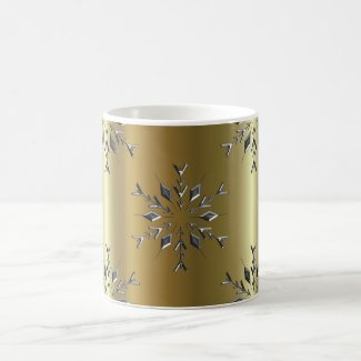 Silver Stars On Gold Christmas Coffee Mug