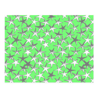 Silver stars, on lime green postcard
