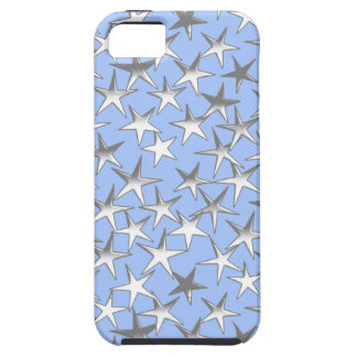 Silver stars, on pale blue iPhone 5 covers