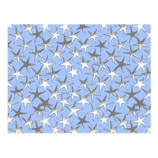 Silver stars, on pale blue postcard