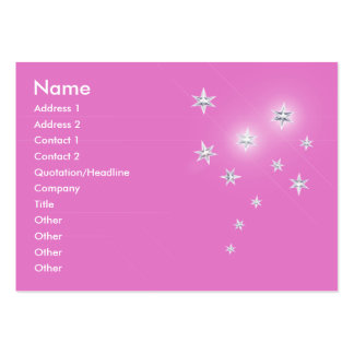 Silver Stars on Pink - Chubby Large Business Card