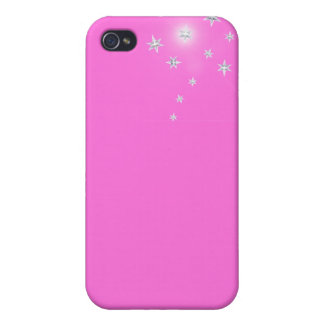 Silver Stars on Pink iPhone 4/4S Cover