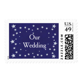 Silver Stars on Royal Navy Blue Our Wedding Stamps